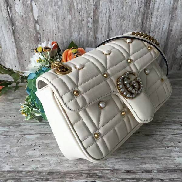 Gucci Now Marmont Mmatelasse Shoulder Bag 443497 White