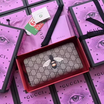 Gucci Bee Print GG Supreme Zip Around Wallet 451273 BEE
