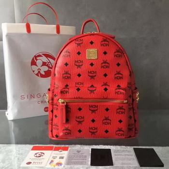 MCM Medium Top Studs Backpack MCM0039 Red
