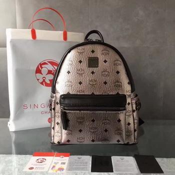 MCM Medium Top Studs Backpack MCM0039 Silver