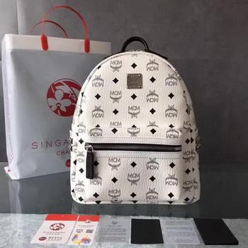 MCM Medium Top Studs Backpack MCM0039 White