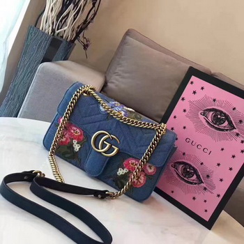 Gucci GG Marmont Chevron velvet shoulder bag 446744B Blue