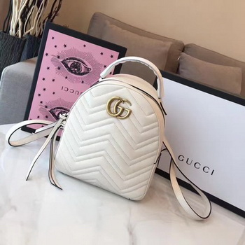 Gucci GG Marmont Quilted Leather Backpack 476671 White