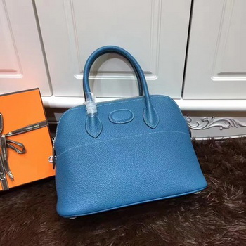 Hermes Bolide 31CM Calfskin Leather Tote Bag B3302 Blue