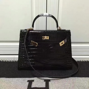 Hermes Kelly 28cm Shoulder Bag Croco Leather K28 Black
