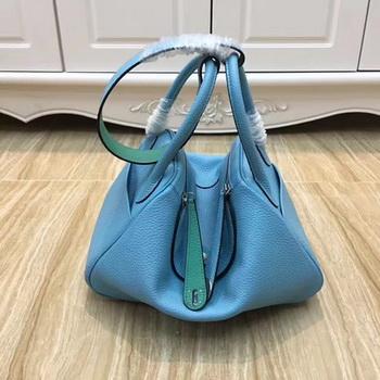Hermes Lindy 30CM Original Leather Shoulder Bag LD30 Blue&Green