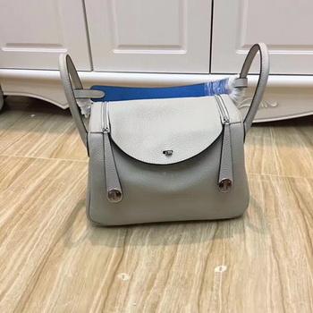 Hermes Lindy 30CM Original Leather Shoulder Bag LD30 Grey&Blue