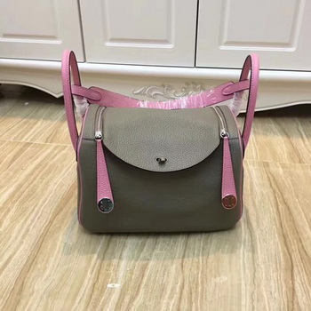 Hermes Lindy 30CM Original Leather Shoulder Bag LD30 Grey&Pink