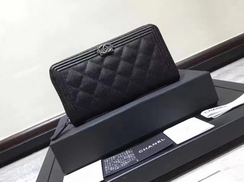 Boy Chanel Zip Around Wallet Black Cannage Pattern CHA5264 Silver