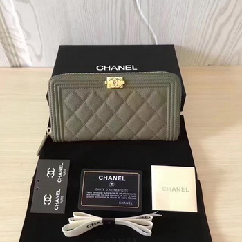 Boy Chanel Zip Around Wallet Cannage Pattern CHA5264 Green