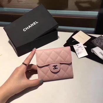 Chanel Tri-Fold Wallet Cannage Pattern Leather CHA5262 Pink