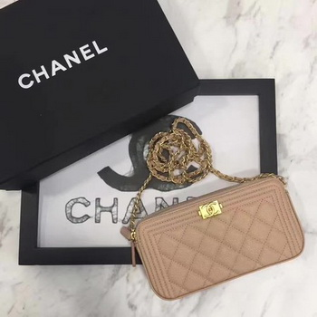 Boy Chanel Flap Bag Original Cannage Pattern CHA3369 Apricot