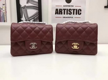 Chanel Classic MINI Flap Bag Original Cannage Pattern A1115 Wine