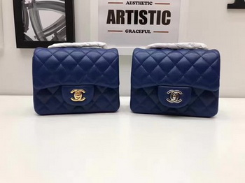 Chanel Classic MINI Flap Bag Original Sheepskin Leather A1115 Blue