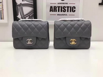 Chanel Classic MINI Flap Bag Original Sheepskin Leather A1115 Grey