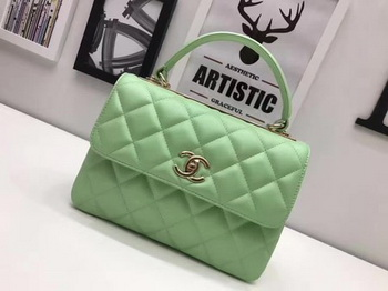 Chanel Classic Top Handle Bag Original Sheepskin Leather A92991 Green