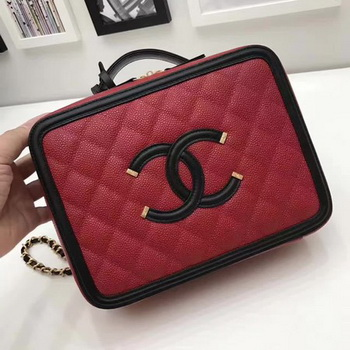 Chanel Cosmetic Bag Original Sheepskin Leather A58695 Red