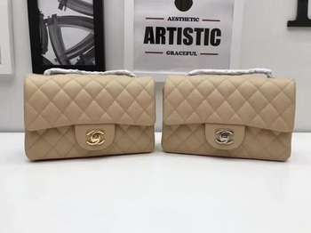 Chanel mini Classic Flap Bag Original Cannage Pattern A1116 Apricot
