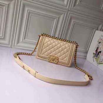 Boy Chanel Flap Shoulder Bag Sheepskin Leather A67085E Apricot
