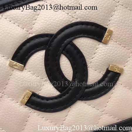 Chanel Cosmetic Bag Original Cannage Pattern A93341 Apricot&Black
