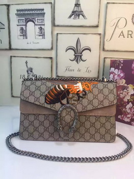 Gucci Dionysus GG Supreme Canvas Shoulder Bag 400249 Apricot