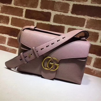 Gucci GG Marmont Leather Shoulder Bag 401173 Pink