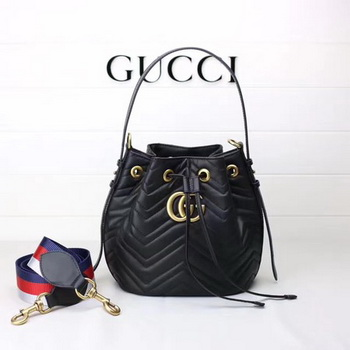 Gucci GG Marmont Quilted Leather Bucket Bag 476674 Black