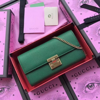 Gucci Padlock Continental Wallet Calfskin Leather 453506 Green