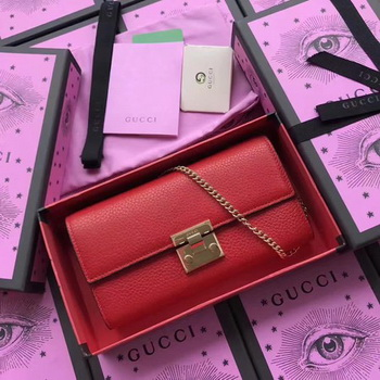 Gucci Padlock Continental Wallet Calfskin Leather 453506 Red