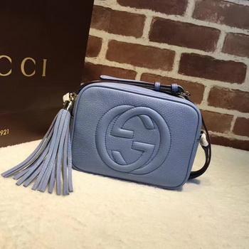 Gucci Soho Metallic Leather Disco Bag 308364 Blue