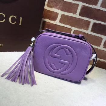 Gucci Soho Metallic Leather Disco Bag 308364 Purple