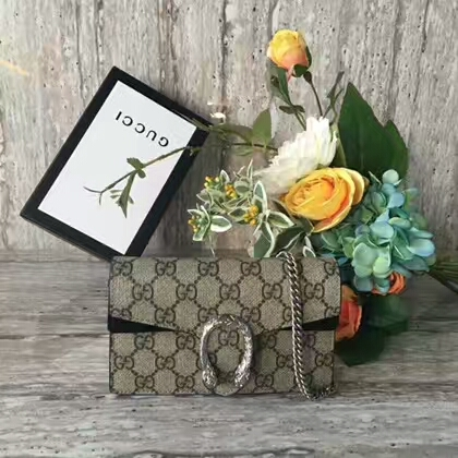 Gucci Dionysus GG Supreme Mini Shoulder Bag 476432 Black