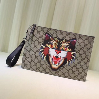 Gucci Angry Cat Print GG Supreme Pouch 473904 Angry Cat