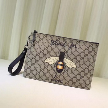 Gucci Angry Cat Print GG Supreme Pouch 473904 Bee