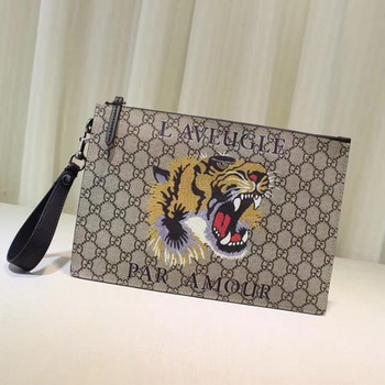 Gucci Angry Cat Print GG Supreme Pouch 473904 Tiger
