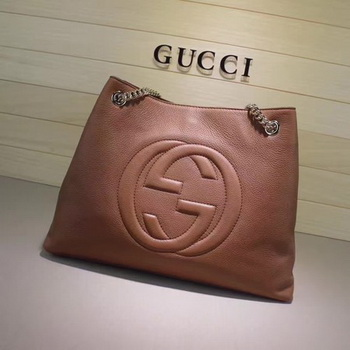 Gucci Soho Medium Tote Bag Calfskin Leather 308982 Apricot