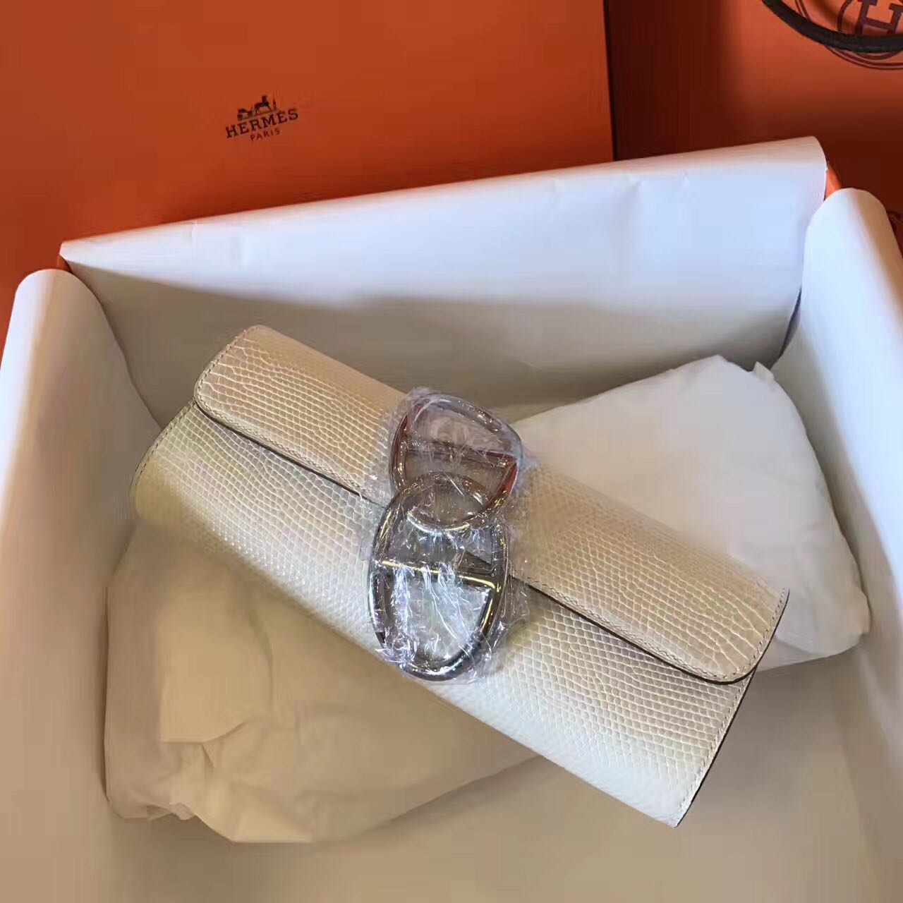 Hermes Original Lizard Leather Cluth Bag 17726 Offwhite