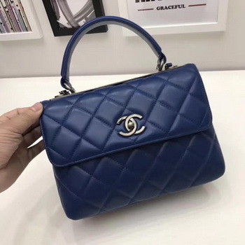 Chanel Classic Top Handle Bag Original Sheepskin Leather A92991 Royal