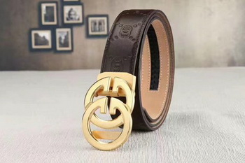 Gucci 34mm Leather Belt GG0801 Brown