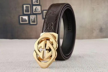 Gucci 34mm Leather Belt GG0804 Brown