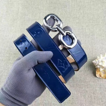 Louis Vuitton 30mm Patent Leather Belt M4226 Blue