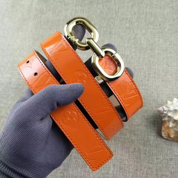Louis Vuitton 30mm Patent Leather Belt M4226 Orange
