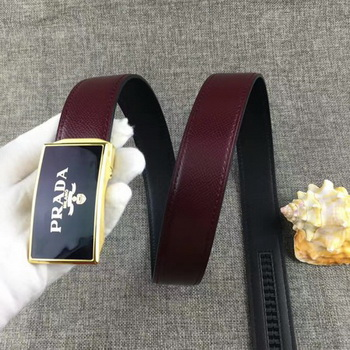 Prada 34mm Leather Belt PD0801 Wine