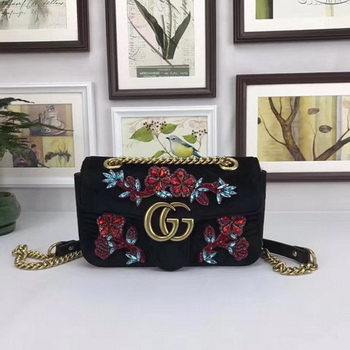 Gucci GG Marmont Embroidered Velvet mini Bag 446744 Black