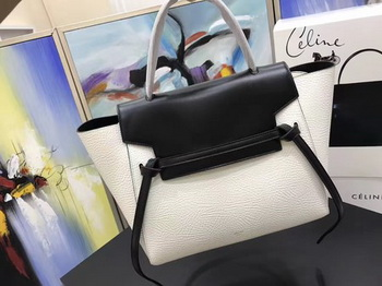 Celine Belt Bag Original Litchi Leather C3349 White&Black