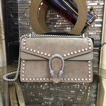 Gucci Dionysus Suede Shoulder Bag with Crystals 400249 Apricot
