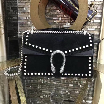 Gucci Dionysus Suede Shoulder Bag with Crystals 400249 Black