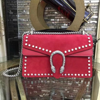 Gucci Dionysus Suede Shoulder Bag with Crystals 400249 Red