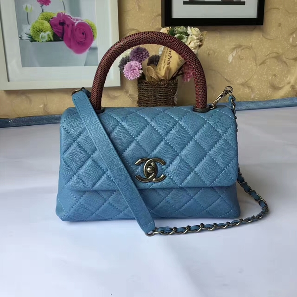Chanel Tote Bag Skyblue Original Calfskin Leather 92990 Silver
