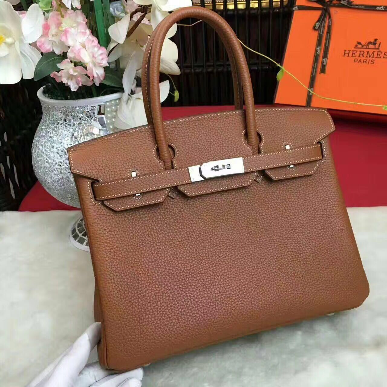 Hermes Birkin Bag Original Leather 17825 Brown